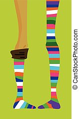 Striped color stocking - long thin teenage girl's legs in...