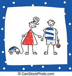 Cartoon girl and boy - cartoon girl and boy, choosing gender...