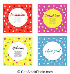 Cards for kids party. Vector set of bright cards with...