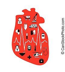 Heart failure. Anatomical red heart. - Heart failure....