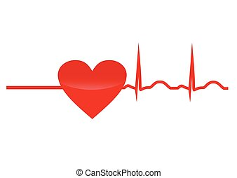 Resuscitation, red heart with cardiogram. Vector icon,...