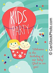 Kids party card - Vector greeting card with balloon and...