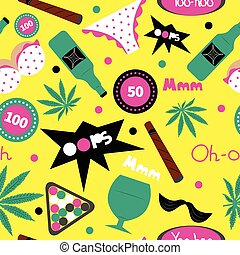 Pop art fashion seamless pattern