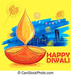 Burning diya on Happy Diwali Holiday watercolor background...