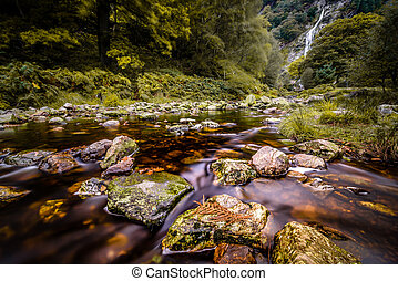 Mountain stream with waterfall - Highest waterfall in...