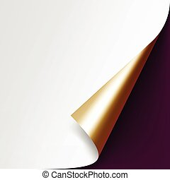 Curled Golden corner paper on Vinous Background - Vector...