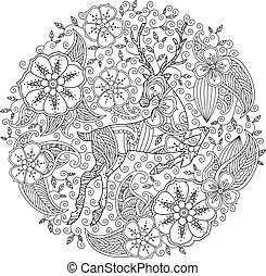 Coloring page with running deer and floral circle. Good...