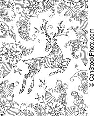 Coloring page with running deer and floral background....