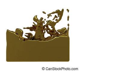 turbulent liquid gold filling a container - turbulent liquid...