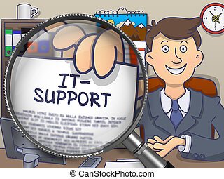 IT- Support through Magnifying Glass. Doodle Style. - IT-...