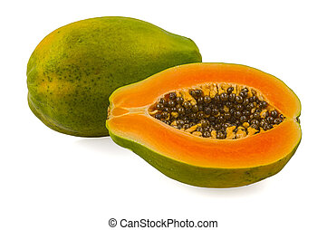Fresh and tasty papaya isolated in white background