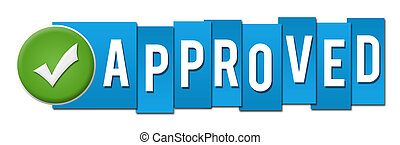 Approved Blue Stripes Tick Button