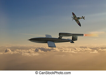 V1 Flying Bomb of World War 2 used by the Germans to attack...