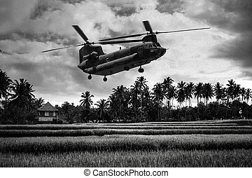 Vietnam War - Artist recreation - Vietnam War 'style' B&W...