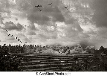 Vietnam War - Artist recreation - Vintage 'Style' Image of...