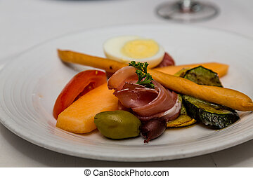 Antipasto with Bread Stick and olives