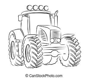 Sketch of tractor. - Sketch of a big heavy tractor.