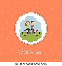 Couple rides a bicycle