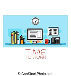 Time to work horizontal banner with wall clock and computer...