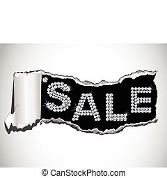 Vector shiny sale tag on fragmentary paper - Vector...