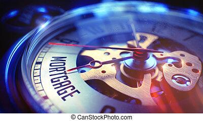 Mortgage - Wording on Vintage Pocket Clock. 3D Render.