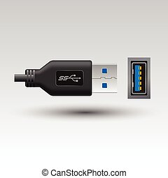 Vector of flat icon USB Type-A connector on background