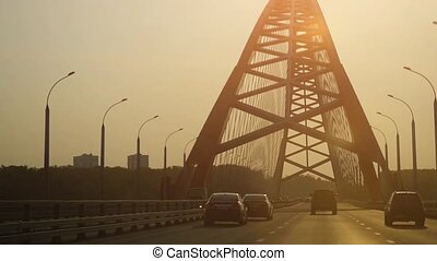 Beautiful bridge during sunset in the city in slowmotion....