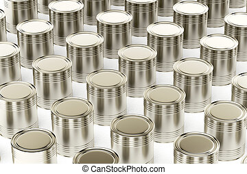 Tin cans - Many tin cans on white background
