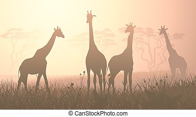 Wild giraffes in African savanna. - Horizontal vector...