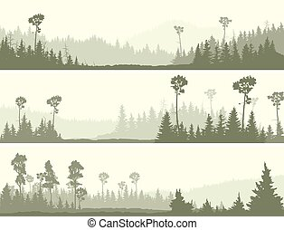 Wild coniferous wood with glade. - Set horizontal banners of...