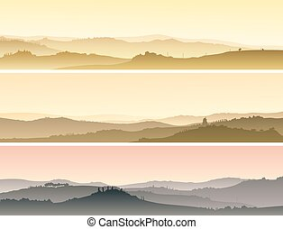 Valley with manors at sunset. - Set of horizontal banners of...