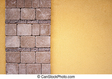 Yellow fence wall with modern stone designe
