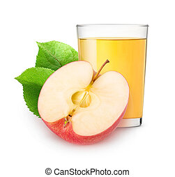 Isolated apple juice and half of fruit - Isolated apple...
