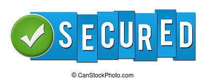 Secured Blue Stripes Tick Button - Secured text with...