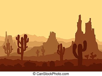 Sunset in stone desert  with cactuses and mountains.
