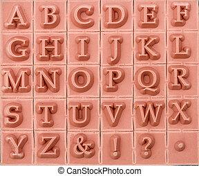 English alphabetical uppercase, background