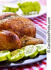 roast turkey with vegetables