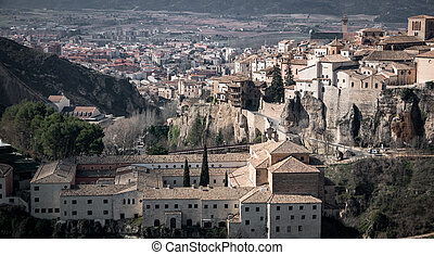 Cuenca old town with San Pablo convent - Close up vintage...