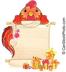 Red fire rooster with scroll and Christmas Ornament.