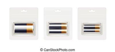 Black Yellow Golden Alkaline Batteries in Packed - Vector...
