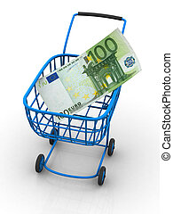 Consumer basket with euro. 3d