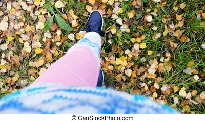 Top of view of autumn season in sport style shoes....