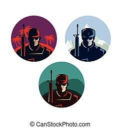 Soldier badges or avatars set. Silhouette with rifle. Vector...