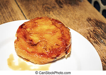 Crema catalana pastry served in Catalan restaurant, Spain -...