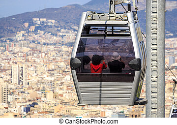 Cable car to Montjuic hill, Barcelona, Spain - Cable car...