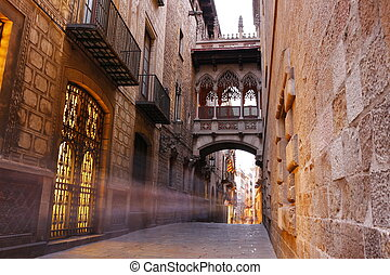 Barri Gotic quarter of Barcelona, Spain - Bridge between...