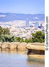 Barcelona panorama with Agbar Tower, Catalonia, Spain -...