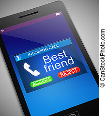 Best friend calling. - Illustration depicting a phone with a...
