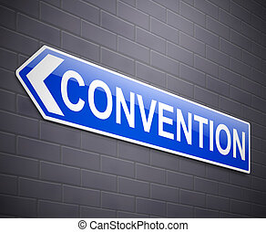 Convention sign concept. - Illustration depicting a wall...