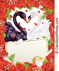 Greeting card with swans in love